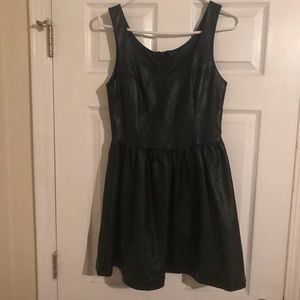 Black ' leather ' dress with zipper
